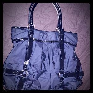 EUC COLE HAAN Black Nylon & Patent Tote Handbag